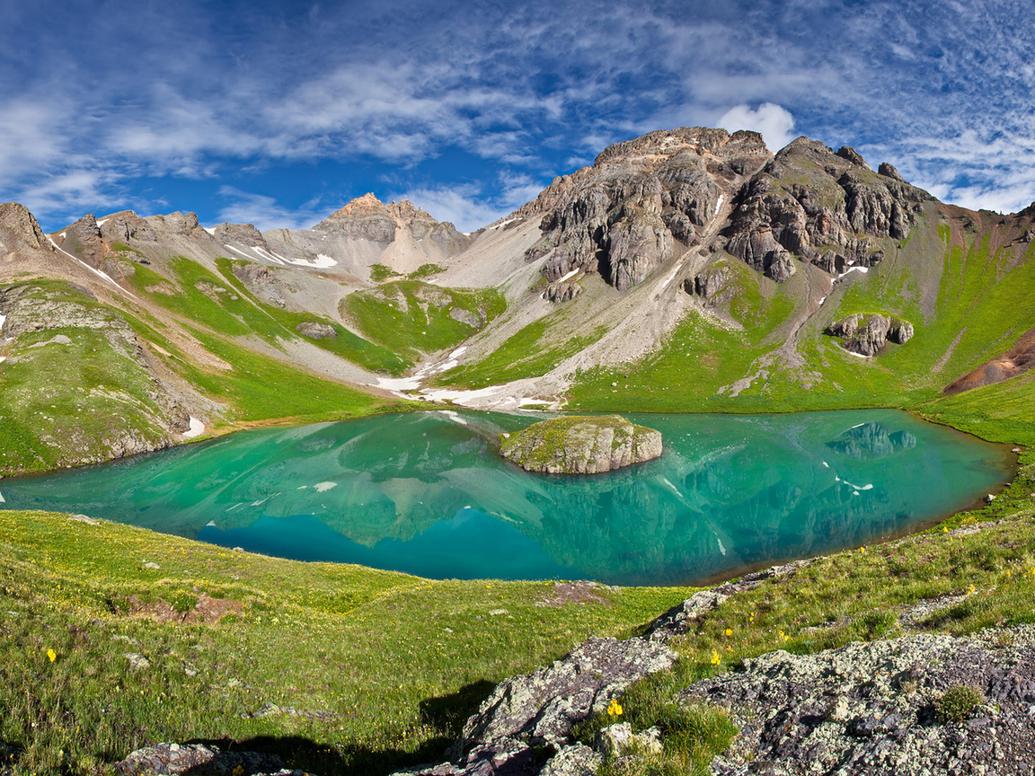 ulysses s grant peak, san juan mountains, ice lake basin, горы, пейзаж, озеро