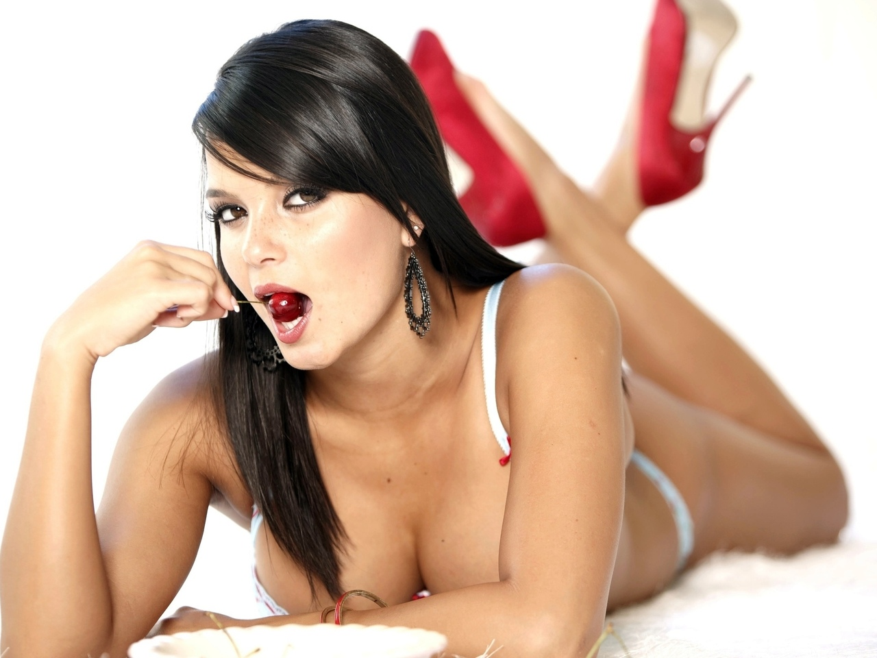 sasha cane, brunette, cherry, red shoes