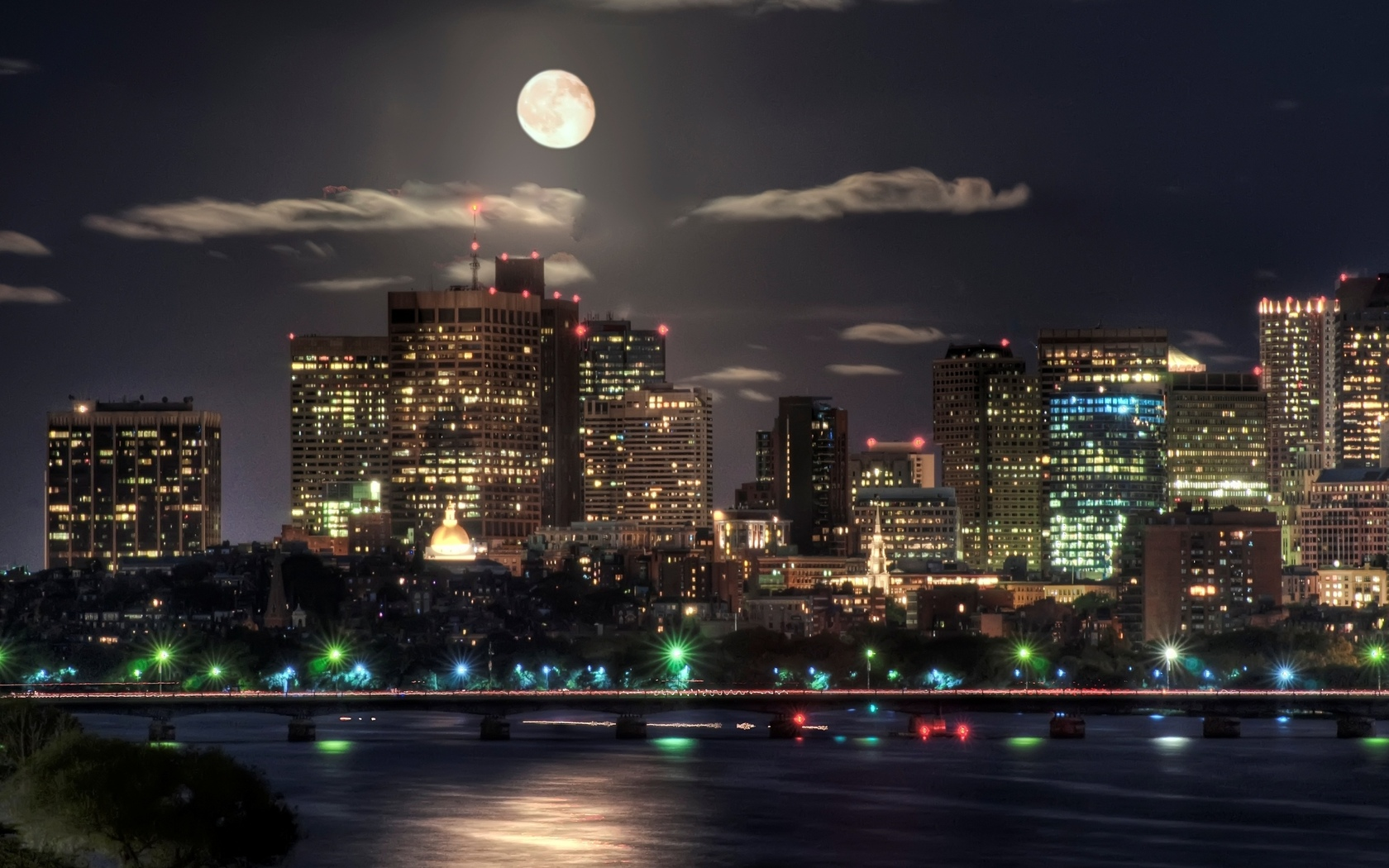lights, night, moon, city