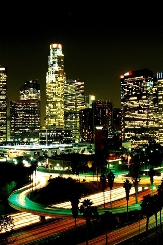 night, lights, city, LA