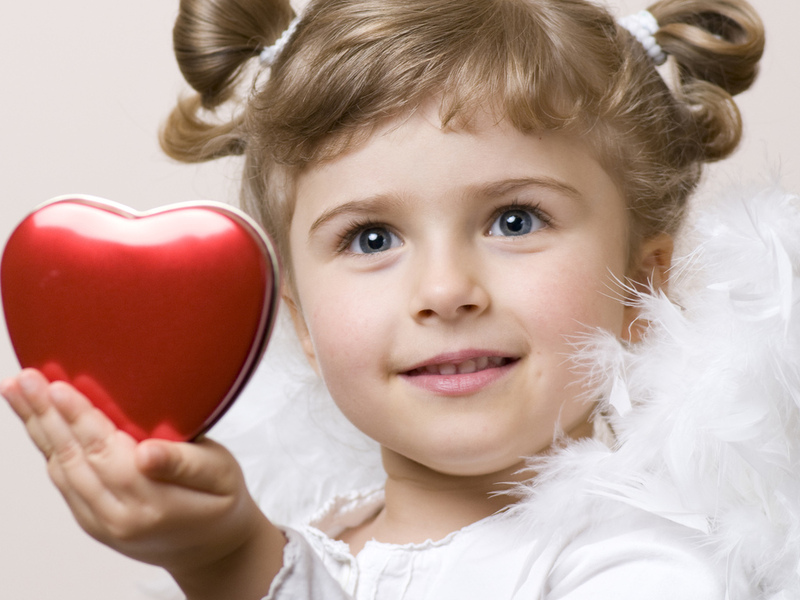 love, Cute little girl , child, heart, feathers, childhood, angel, children