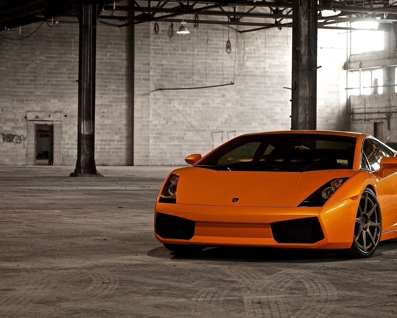 гараж, auto, cars, orange, wallpapers, lamborghini gallardo