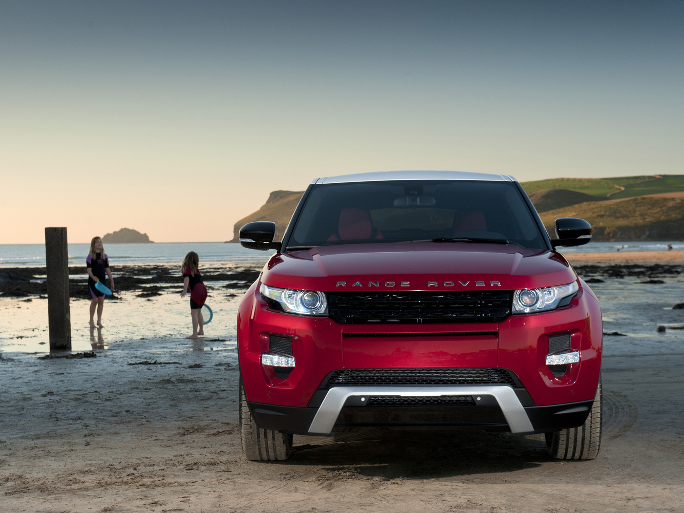 range rover, red, evoque