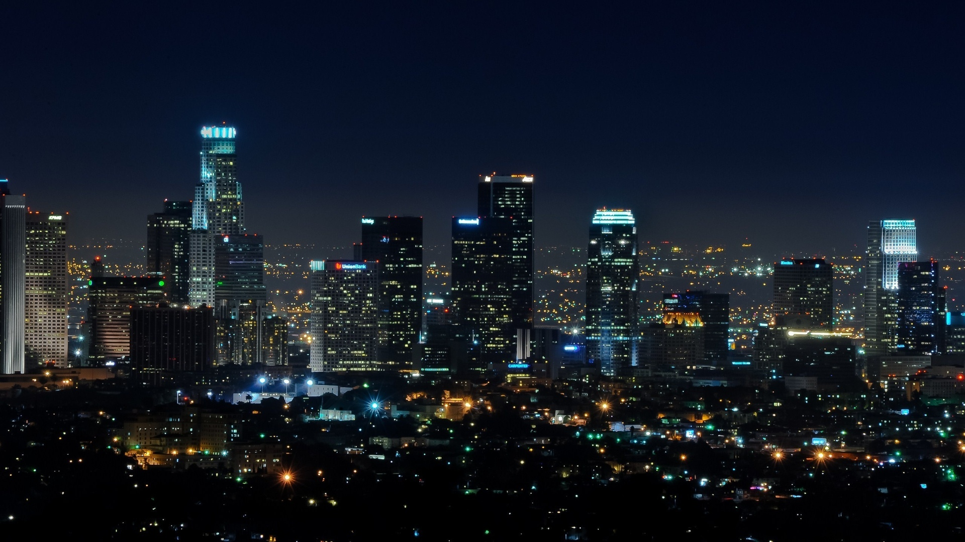 огни, ночь, usa, la, los angeles, southern california, downtown, night, california, калифорния