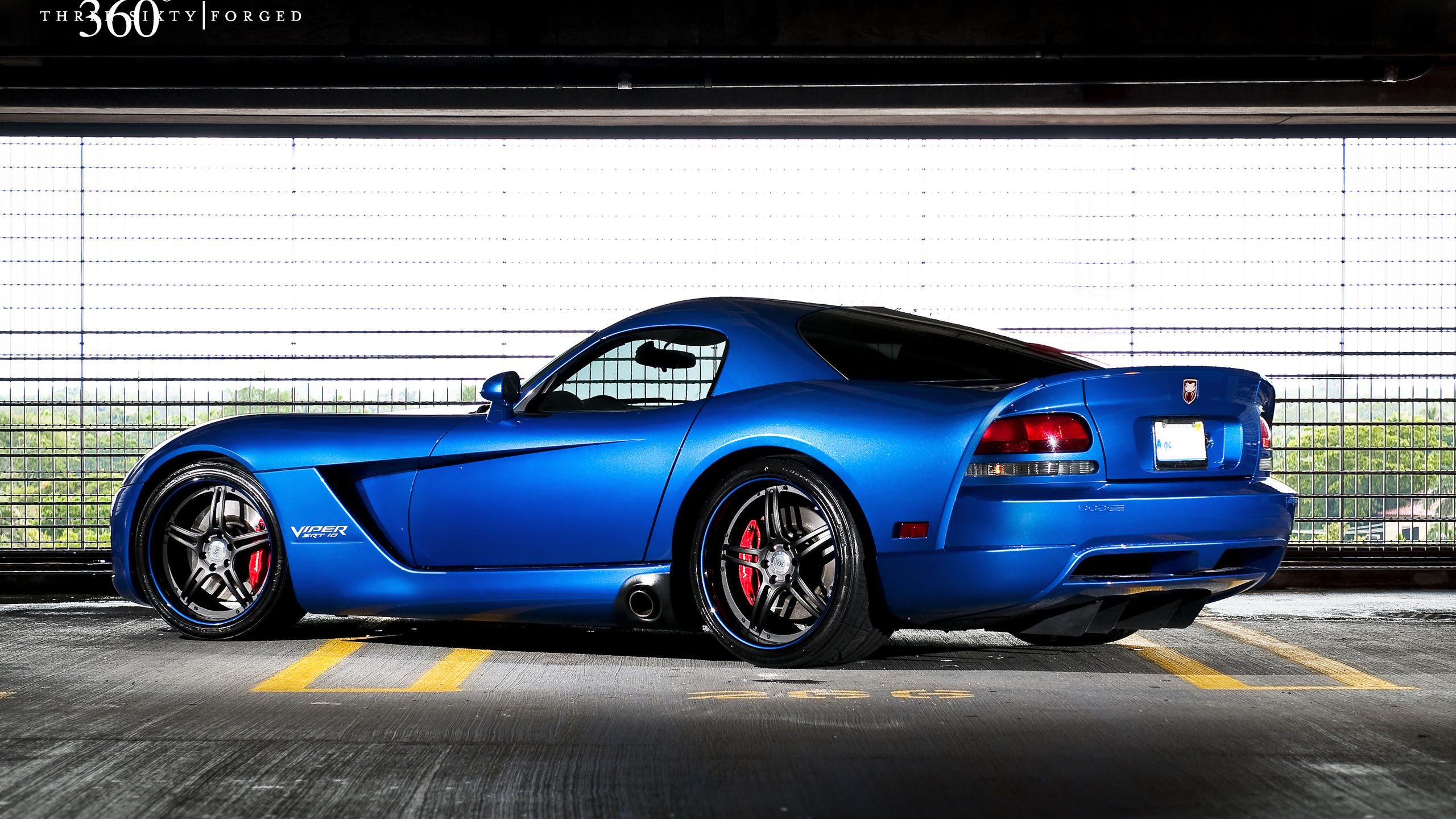 додж, синий, srt 10, dodge, парковка, 360 three sixty forged, вайпер, задняя часть, blue, viper