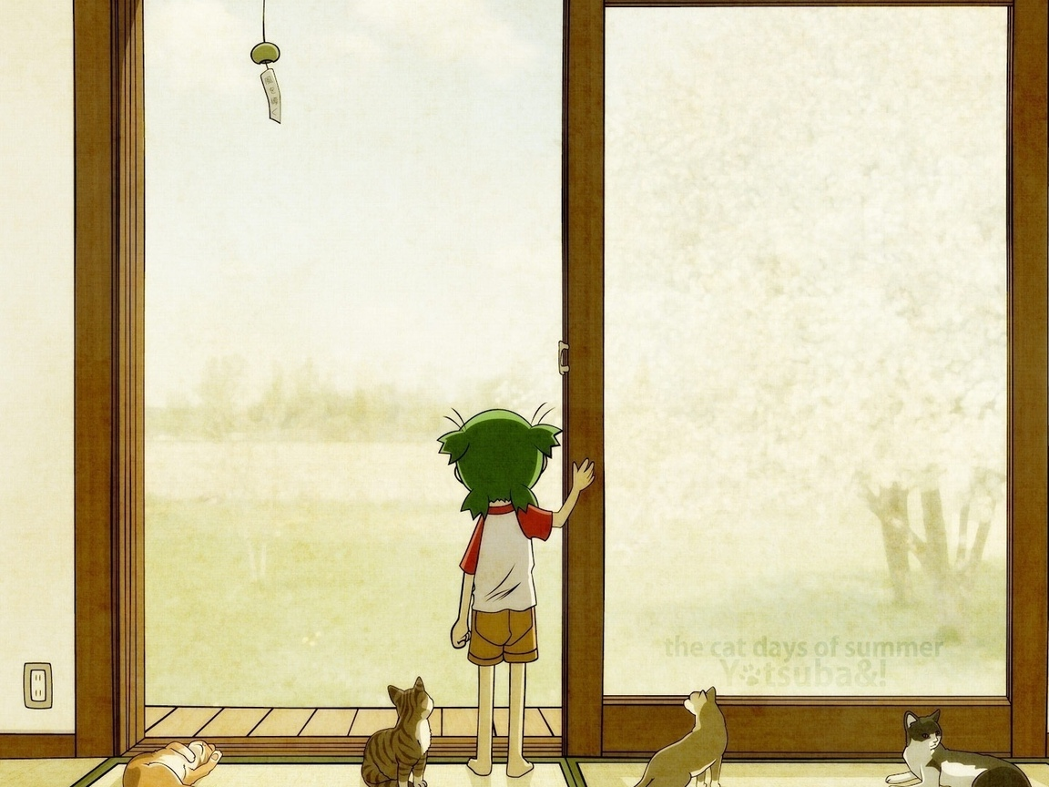 девочка, the cat days of summer, кошки, ребенок, дверь, yotsubato