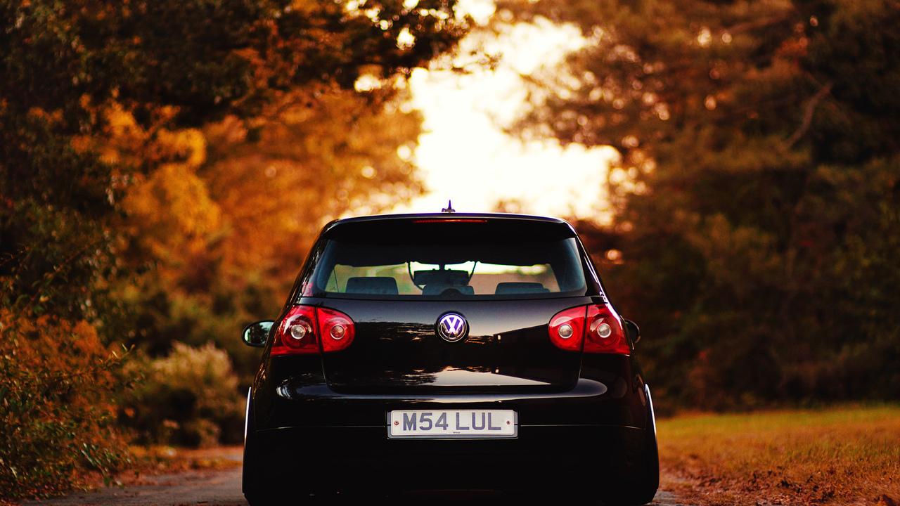 осень, volkswagen, auto, cars, city, wallpapers, листва, vw, дорога, обои авто, golf, wallpapers auto
