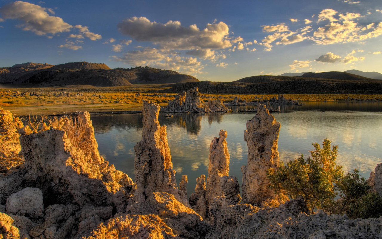 камни, озеро, mono lake, eastern sierras, california, горы