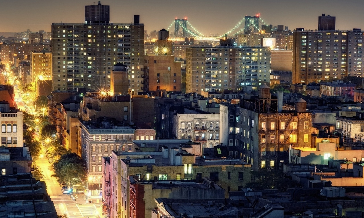 brooklyn, roof, нью-йорк, new york city, nyc, ночь, williamsburg bridge, ower east side, usa, огни, from noho, night