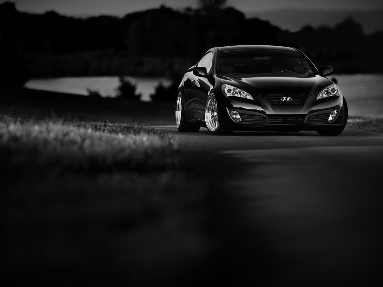 hyundai, coupe, black, white, genesis