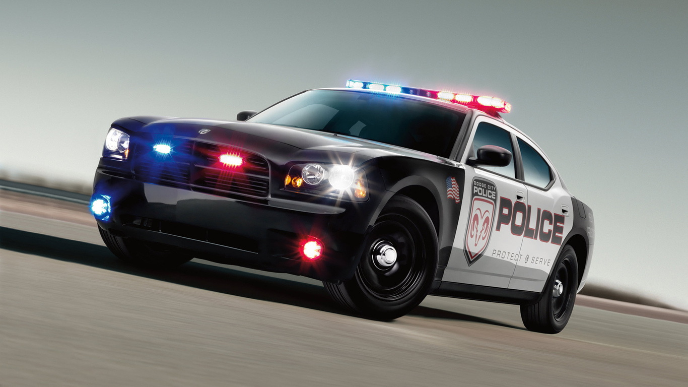 dodge, police, flashers
