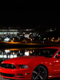 ford, mustang, ночь