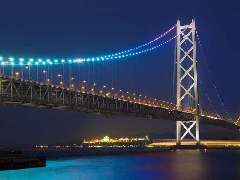 ночь, мост, огни, akashi strait bridge, japan