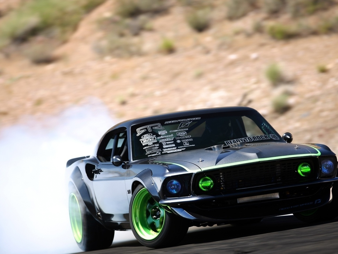 машина, авто обои, cars, car, форд, дым, тачки, мустанг, ford, rtr-x, black, mustang, скорость, drift