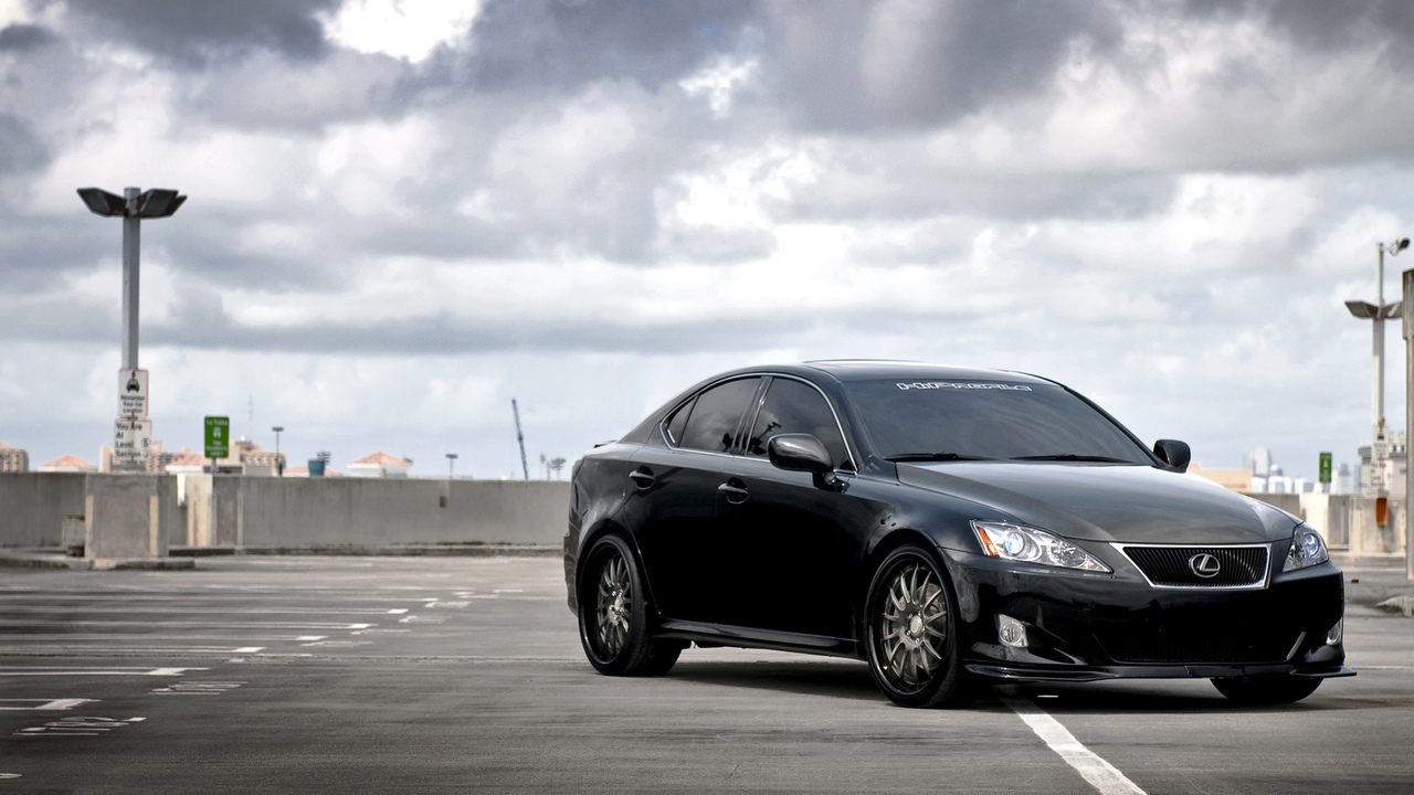 sf system forged, is 350, небо, black, чёрный, облака, парковка, передняя часть, лексус, lexus