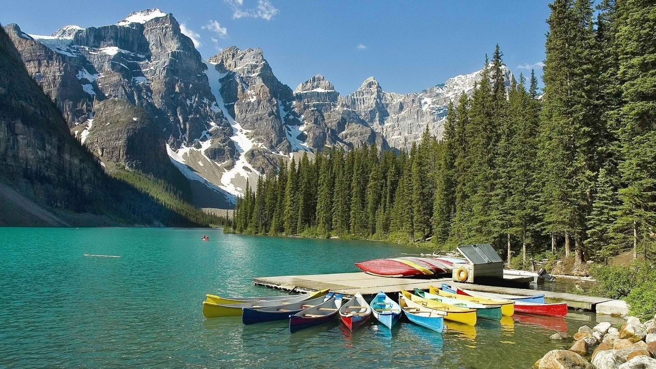 лес, горы, небо, banff national park, лодки, фон, снег, река