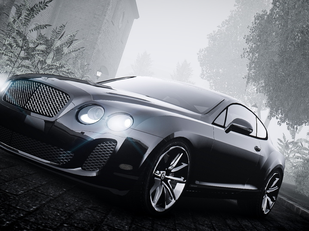 машина, чб, bentley continental, gta 4, туман