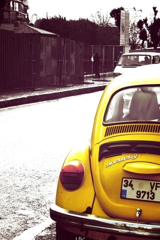 volkswagen, bug, yellow