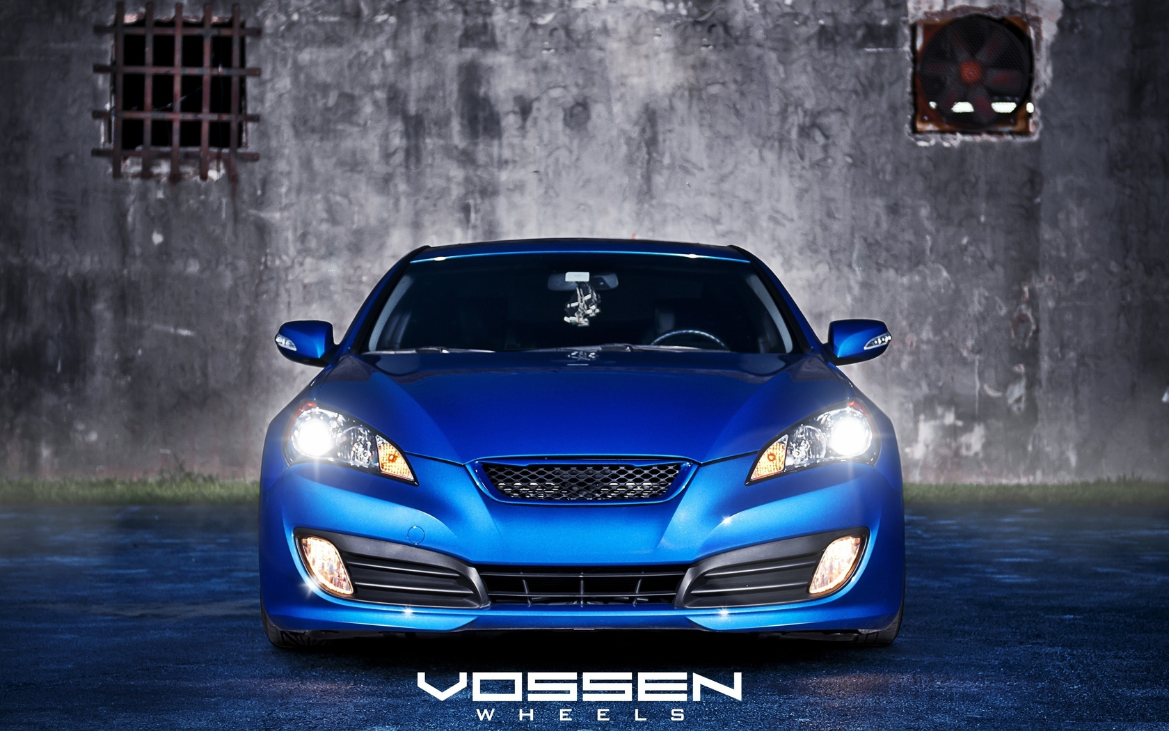 genesis, стена, хёндай, синий, hyundai, vossen wheels, blue, асфальт