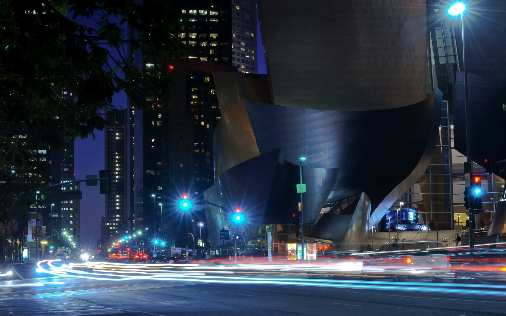 огни, california, walt disney concert hall, night, traffic, ночь, калифорния, los angeles, usa