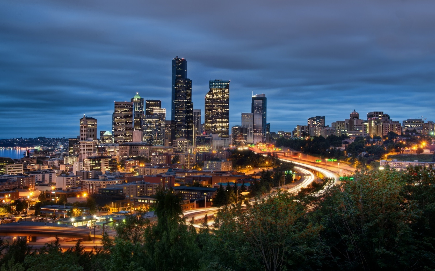 washington, сиэтл, вашингтон, night, downtown, огни, ночь, seattle