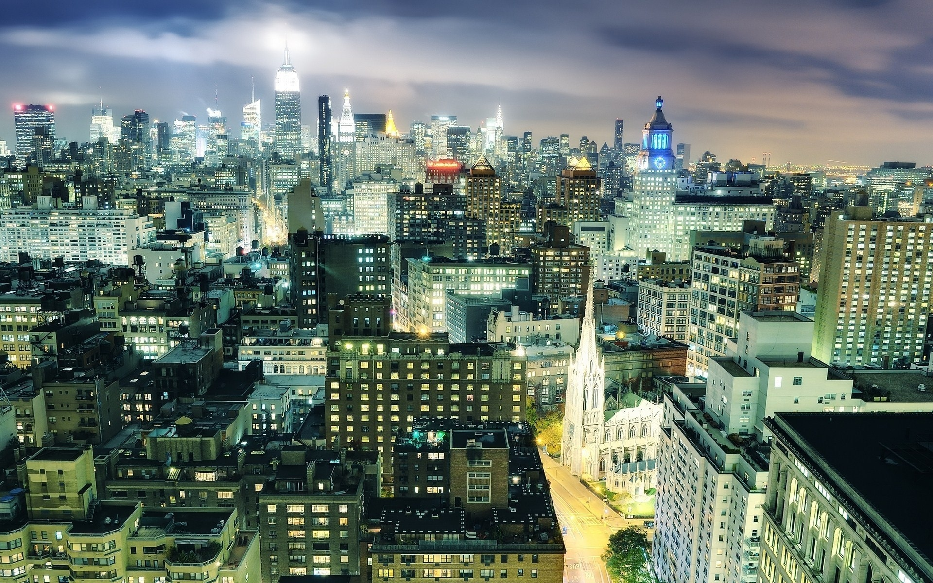 night, usa, new york city, midtown manhattan, nyc, огни, ночь, нью-йорк