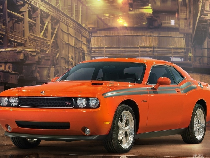 dodge, car, orange, challenger