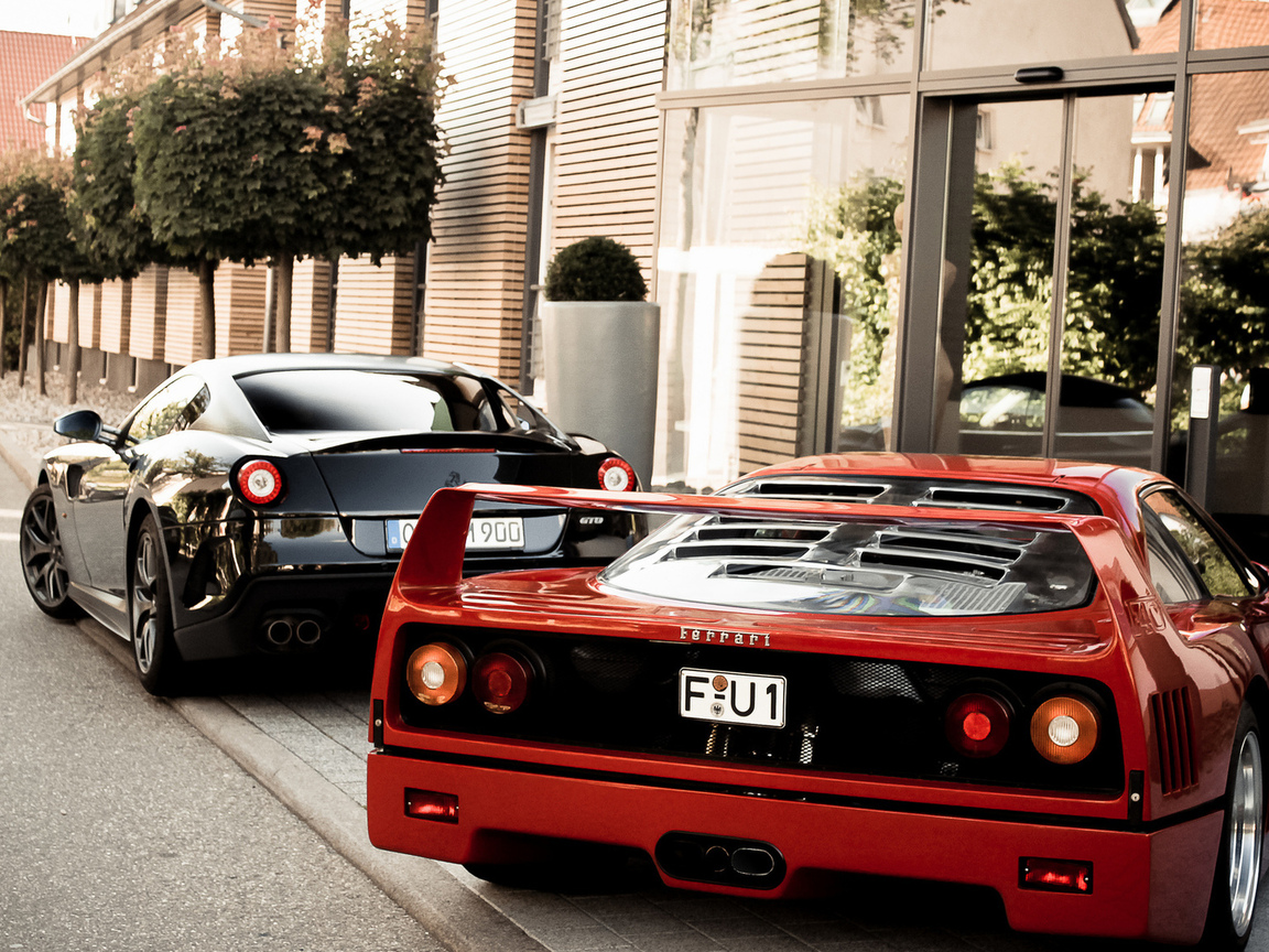 599, ф40, gto, гто, 599, f40, феррари, black, ferrari, building, red, back, tree
