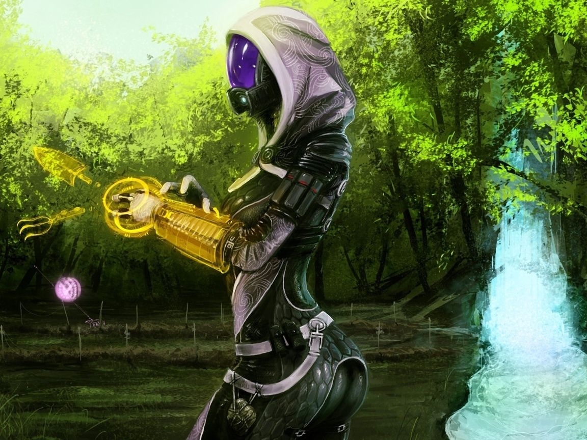 mass effect, tali, огород, водопад, инструментрон, дрон