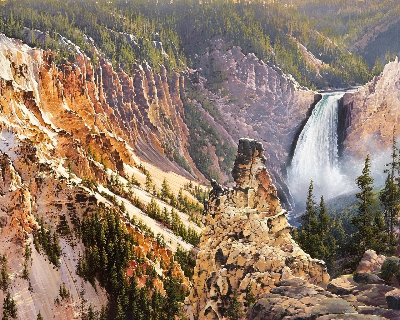 bruce cheever, power and grace lower falls of the yellowstone, природа, живопись