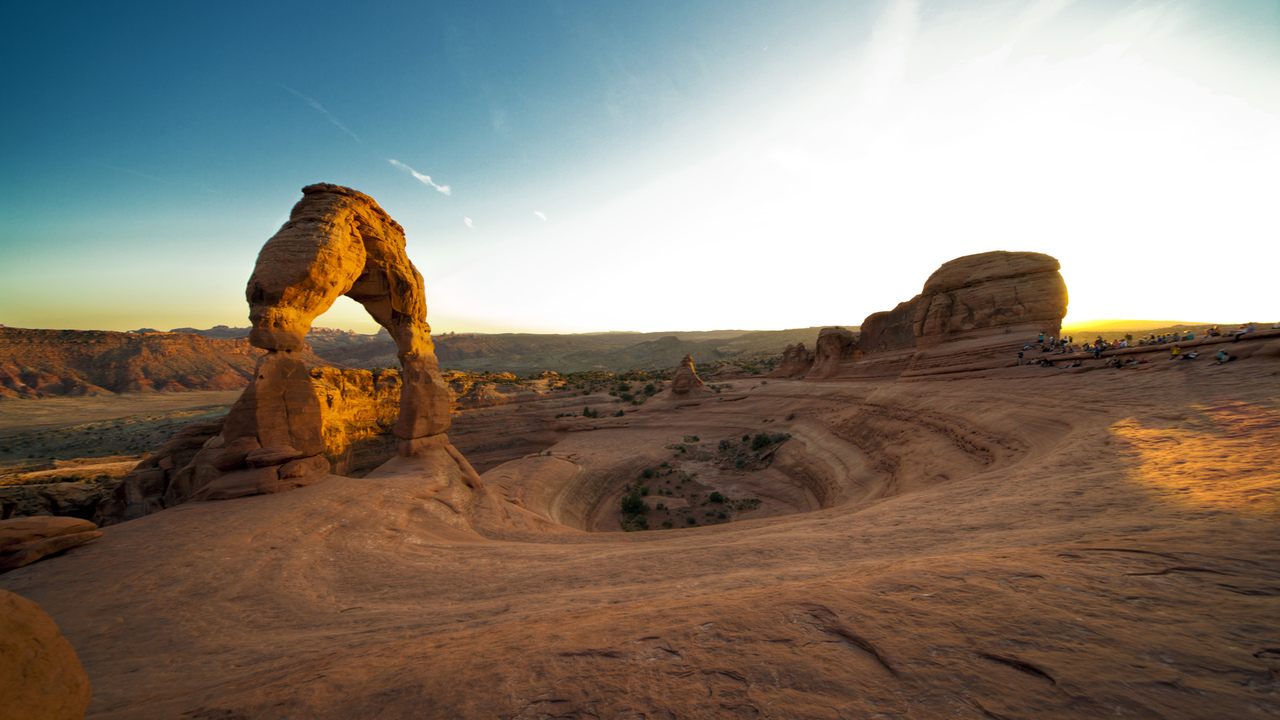 delicate arch,  arches national park, закат, скала,  sunset,  utah,  каньон, сша