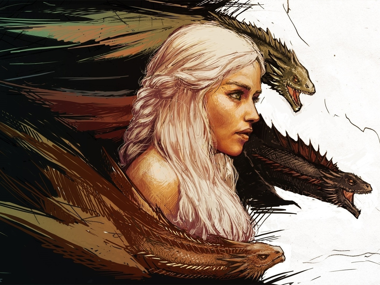 game of thrones, игра престолов, daenerys targaryen, арт, mother of dragons