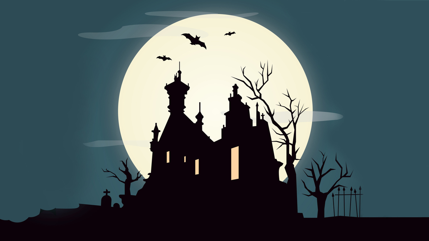 horror, creepy, scary, graveyard, holiday halloween, bat, full moon, castle, vector, october, trees