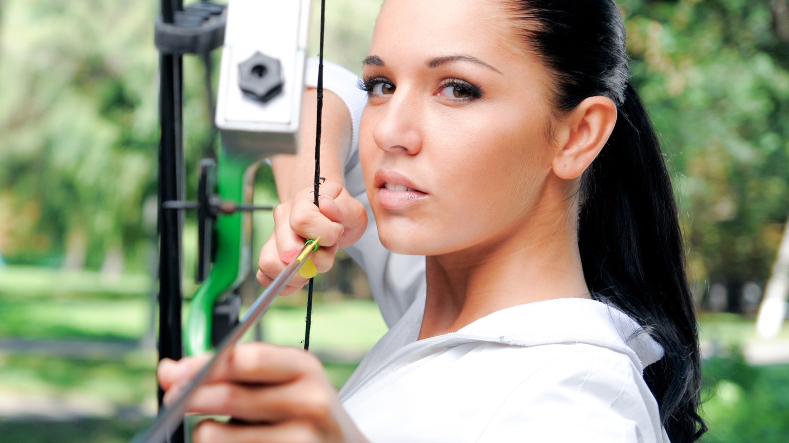 bow, archery, green, look, white, women, arrow