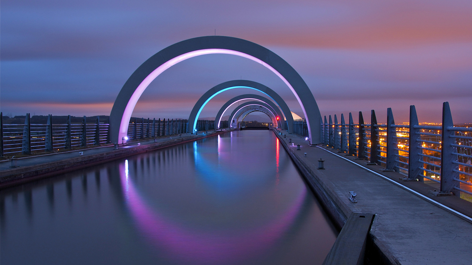 lights, great britain, united kingdom, city, falkirk, night, scotland, великобритания