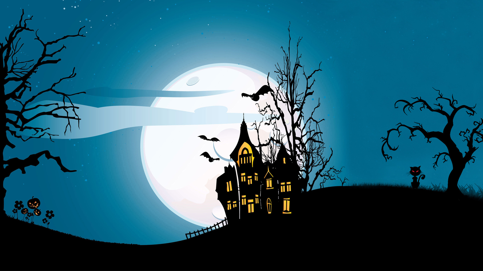 trees, castle, vector, evil pumpkin, scary house, holiday halloween, horror, bat, creepy, full moon
