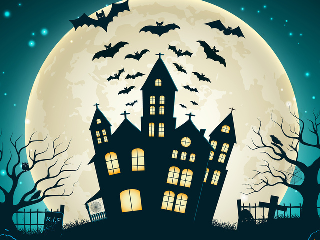 creepy, trees, castle, full moon, scary house, holiday halloween, vector, evil pumpkin, horror, bat