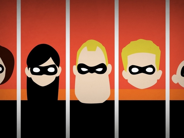the incredibles, минимализм, disney company, суперсемейка, blo0p
