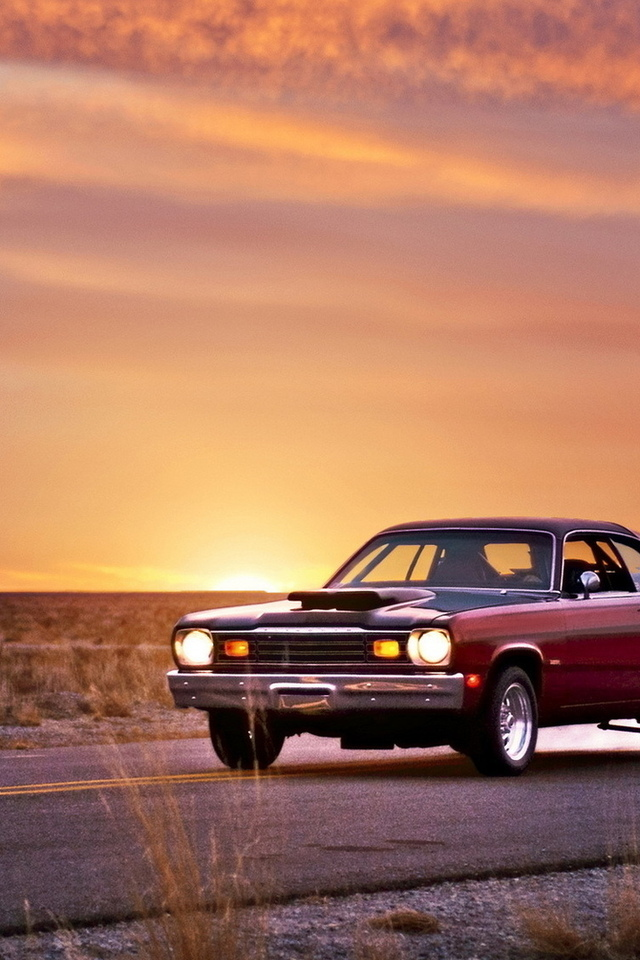 дорога, plymouth duster, закат, muscle car