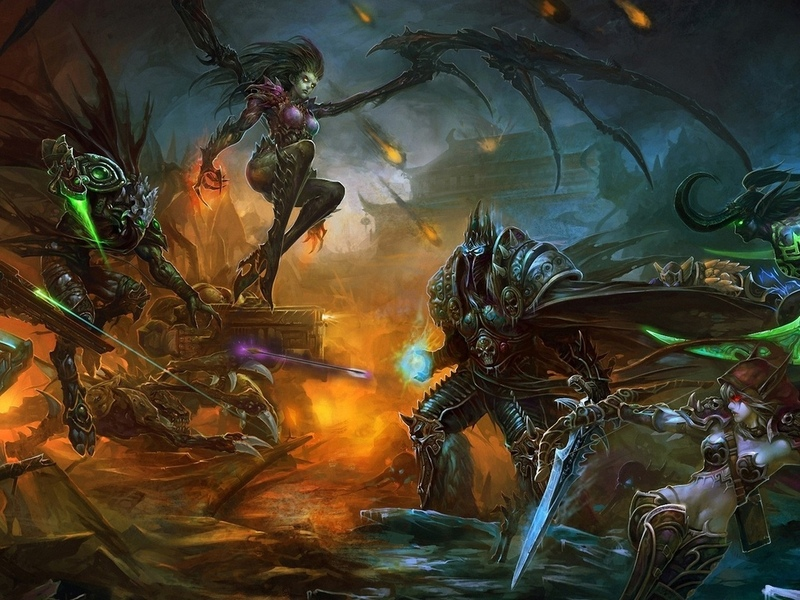 арт, arthas, битва, bai,  sylvanas windrunner, starcraft, world of warcraft, sarah kerrigan