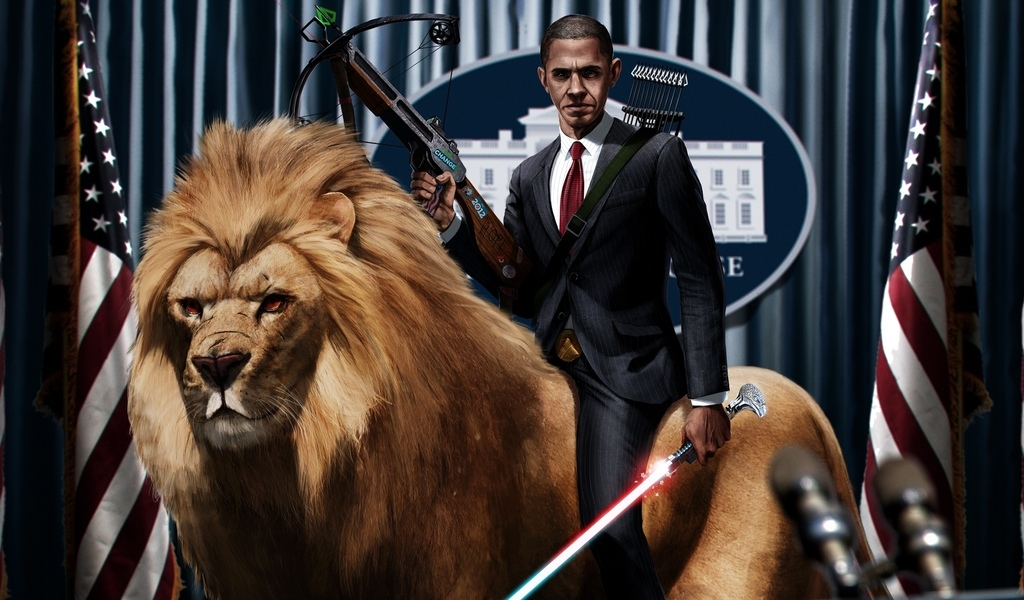 president, lightsaber, crossbow, obama, lion