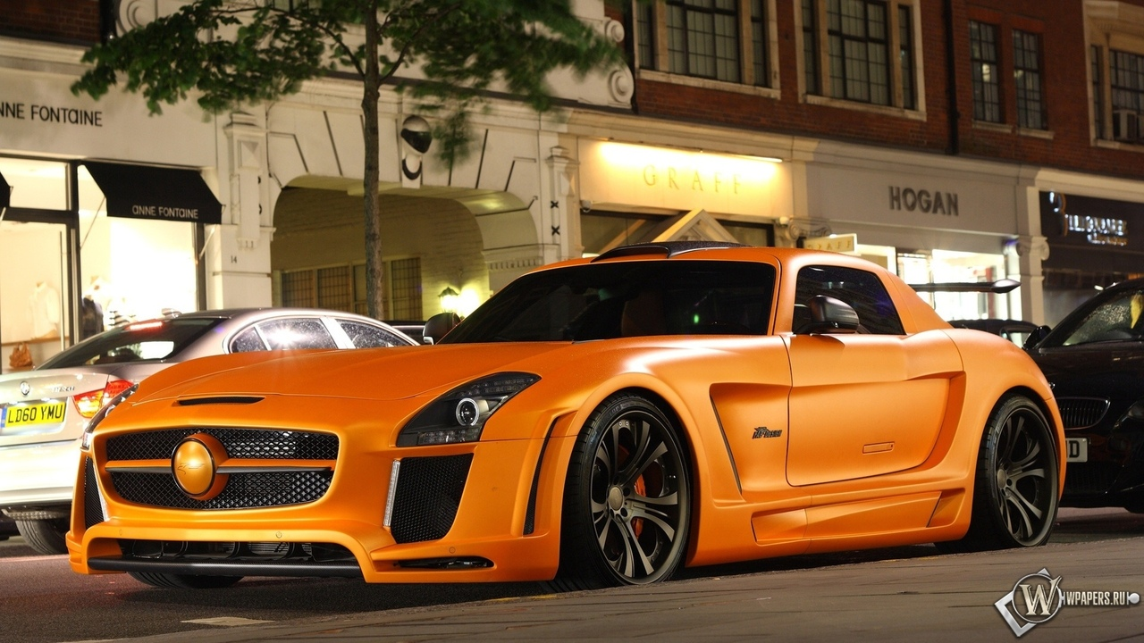 mercedes, sls, fab design, orange, mercedes sls, мерседес
