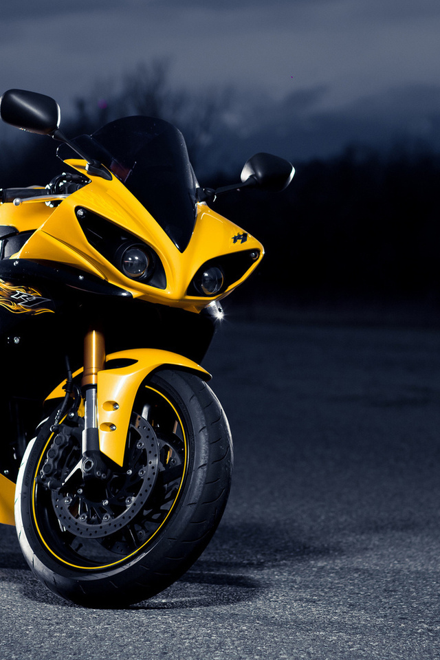 road, yamaha, супербайк, yellow, r1, night, ямаха, черный, black, superbike