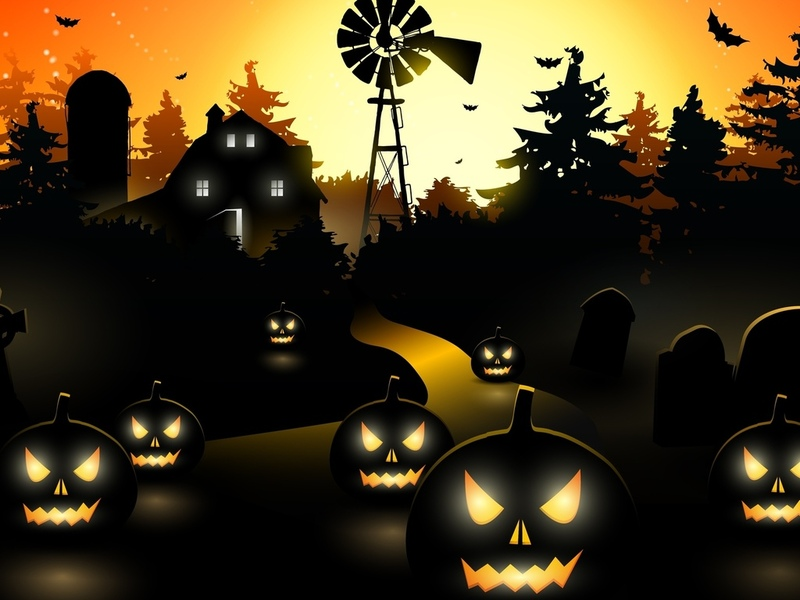 horror, midnight, vector, scary town, bat, creepy, trees, holiday halloween, pumpkin