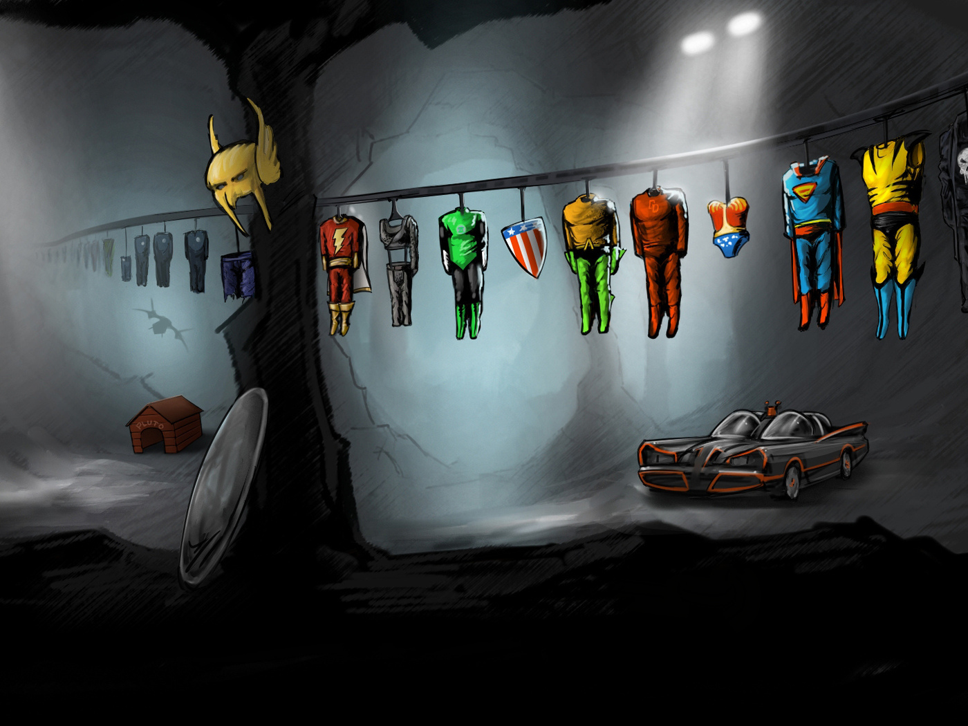 cave, parody, green lantern, batmobile, hiding place of superheroes, costumes, flash