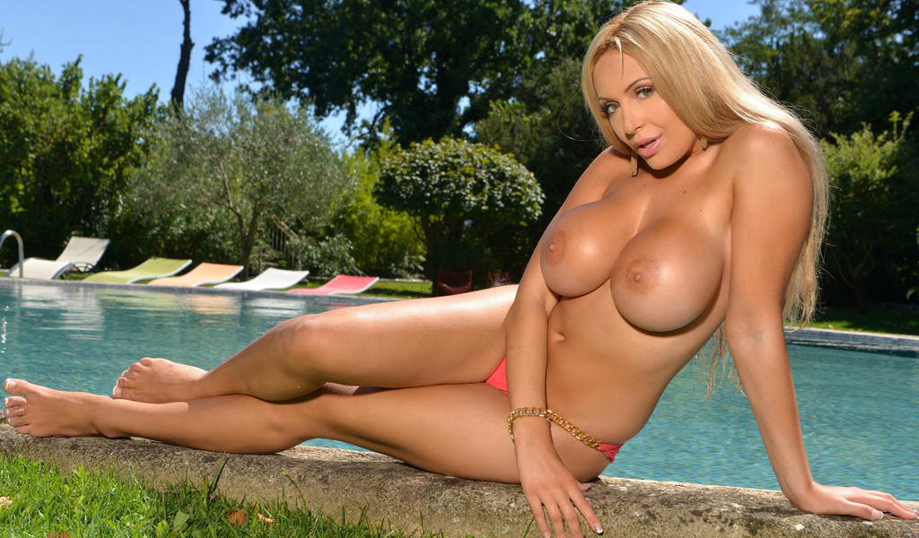 Gorgeous Blonde Babe With Big Tits Showing Her Ass Poolside Hqbabes 1