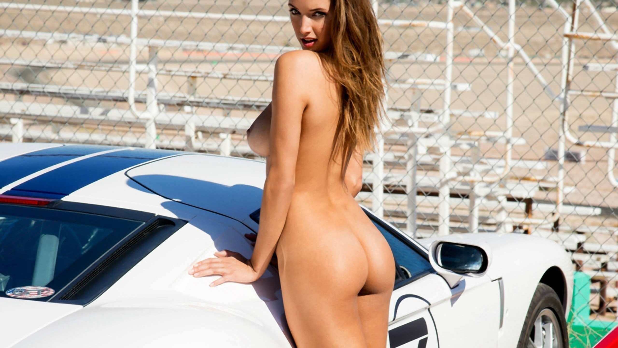 Hot Naked Brunette White Car