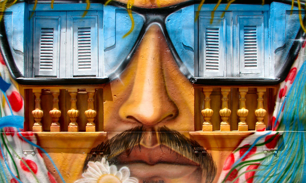 artistic, graffiti, nose, flower art, wall, window, whiskers, mouth, glasses sun