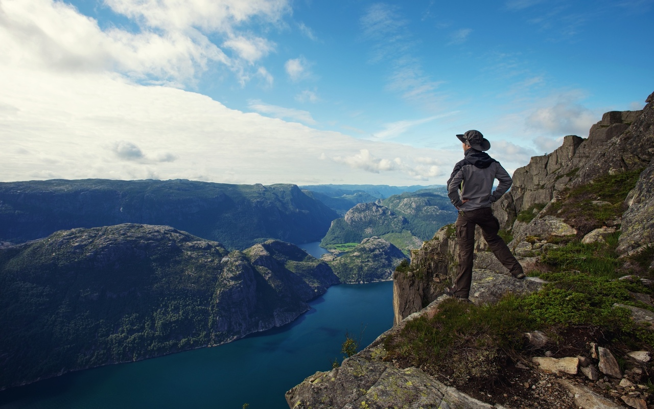 traveler, clouds, fjord , sky, nature, guy, mountain, man, hiker , panorama, lonely, lonely, sea