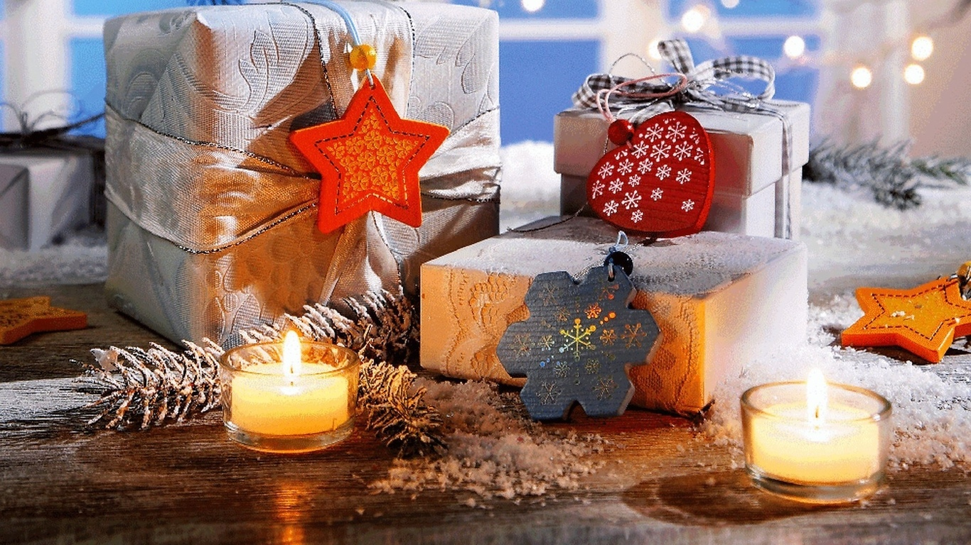 snowflake, ribbon, winter, heart, snow, gifts, рождество, новый год, candles